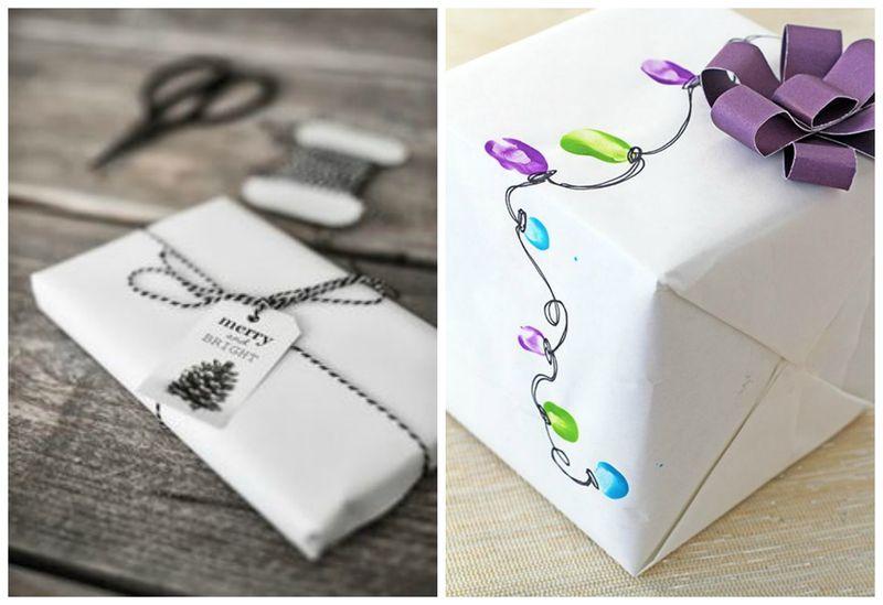 Простые идеи для упаковки новогодних подарков. Белая бумага | Блог Дом, в который хочется приходить